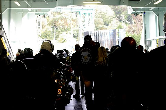 Motorcyclists riding the ferry from Tacoma to Vashon Island - image.