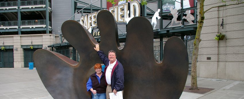 Randy Melquist and Peggy Doman outside Safeco Field in Seattle, Washington.