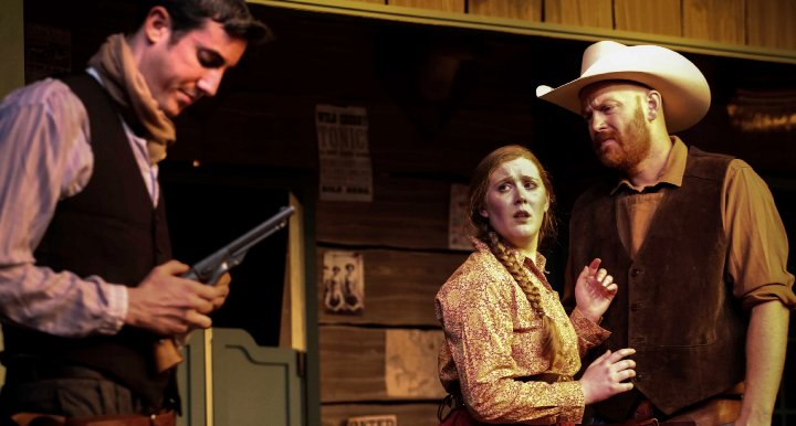 Foster (Jacob Tice), Hallie (Jill Heinecke) & Barricune (Chris James) in The Man Who Shot Liberty Valance - Photo by DK Photography - Tacoma Little Theatre - image.