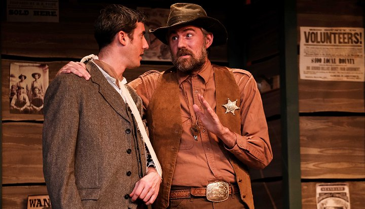 Foster (Jacob Tice) & Sheriff Johnson (Ben Stahl) in The Man Who Shot Liberty Valance - Photo by DK Photography - Tacoma Little Theatre - image.
